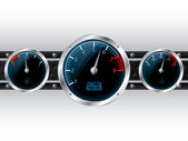 Dashboard gauges with industrial backgound — Stock Vector