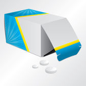 Pill box and pills — Stock Vector