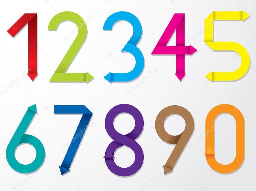 すべての折り紙 数字 折り紙 : 色の折り紙の数字のセット ...