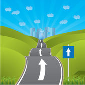 Road heading for city — Stock Vector