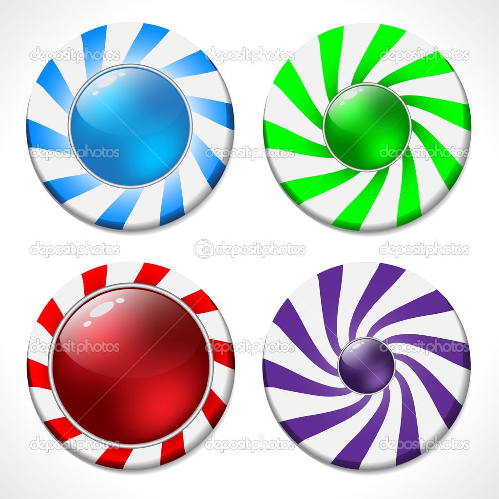 旋转按钮设计套四中各种颜色 — 矢量图片作者 vipervxw