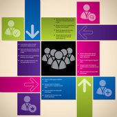 Infographic ile sosyal medya simgeler — Stok Vektör