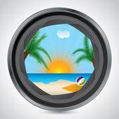 Sunny beach seen through camera lens — Stock Vector