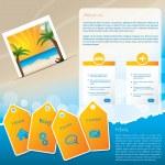 Summer website template design with beach — Stock Vector