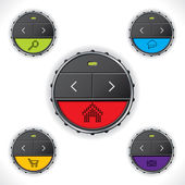 Cool button designs with color leds — Stock Vector
