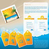 Summer website template design with beach — Stock Vector