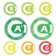 Energy class stamps from A to G — Stock Vector