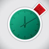Klok sticker met 10 minuten label — Stockvector