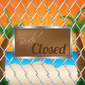 Beach closed sign on wired fence — Stock Vector