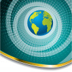 Halftone globe brochure design — Stock Vector