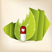 Naturliga piller för hjärtsjukdom — Stockvektor