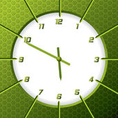 Cool green clock with hexagon background — Stock Vector