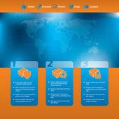 Webbplats mall design med produkter och klottrade karta — Stockvektor