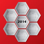2014 red hexagon calendar design — Stock Vector
