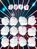 2014 calendar with month bubbles — Stock Vector