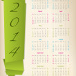 2014 calendar with green origami arrow — Stock Vector