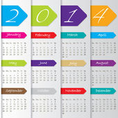 Arrow calendar design for 2014 — Stock Vector
