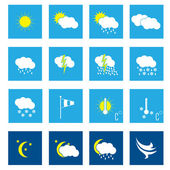 Flat weather icon set of 16 — Stock Vector