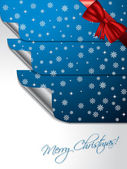 Blue greeting card with stickers shaping christmas tree — Stock Vector