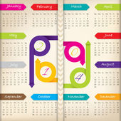 2014 calendar with color arrow ribbons — Stock Vector