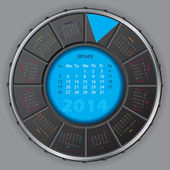 Cool digital rotateable calendar for 2014 — Vettoriale Stock