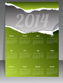 Ripped calendar design for year 2014 — Vettoriale Stock