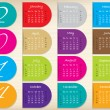 Color ribbon calendar design for 2014 — Stock Vector