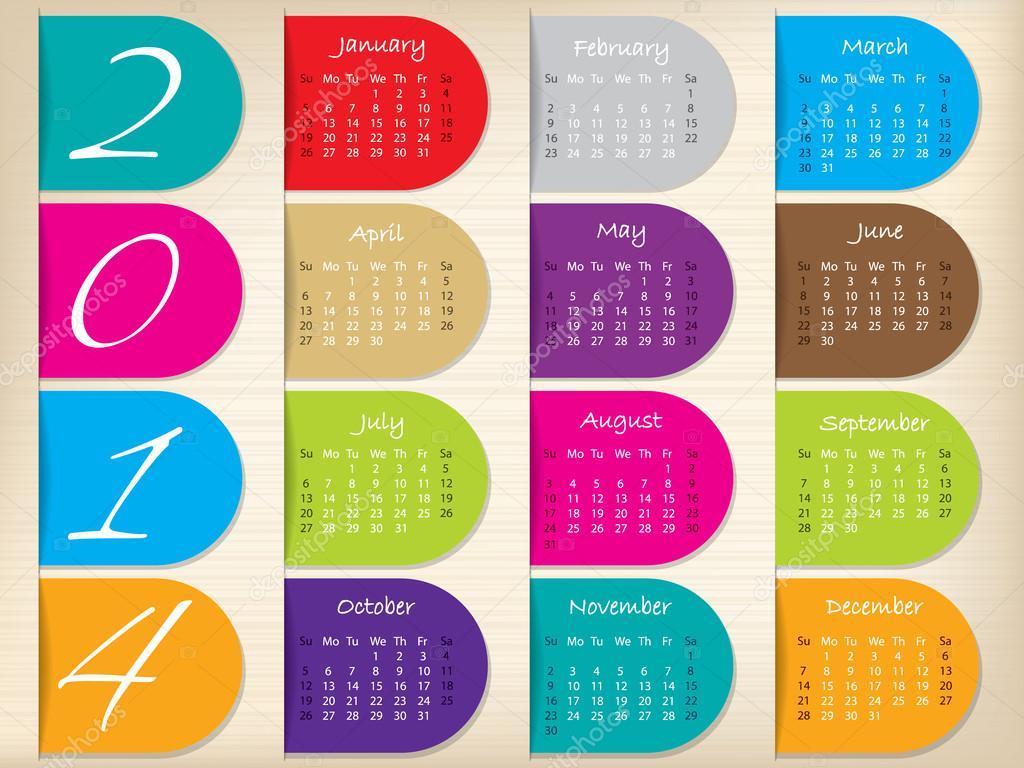Calendar Cover Design 2014 : Color ribbon calendar design for — stock vector