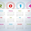 2014 calendar with balloon shaped ribbons — Vettoriali Stock