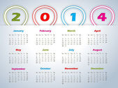 2014 calendar with balloon shaped ribbons — Vettoriale Stock