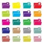 Flat folder icon set of 20 — Stock Vector