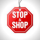 Stop and shop merchandise label — Stock Vector