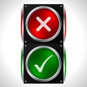 Tick cross symbols on traffic light — Stock Vector