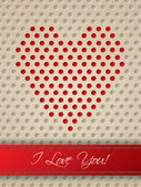Valentine card with heart shaped dots — Stock Vector