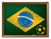 Brasil flag and soccerbal on chalkboard — Wektor stockowy