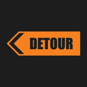 Detour sign on striped background — Stock Vector