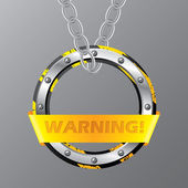 Abstract warning sign hanging on chains — Stockvektor