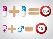 Male female symbols and pills for sex — Vector de stock