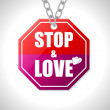 Stock Vector: Stop and love traffic sign