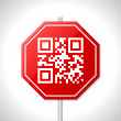 Stock Vector: Stop sign design with qr code