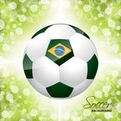Soccer ball poster with green background — Stock Vector