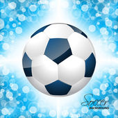 Soccer ball poster with blue background — Stock Vector