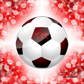 Soccer ball poster with red background — Stock Vector