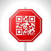 Stop sign design with qr code — Stock Vector