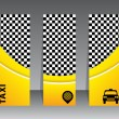 Checkered yellow taxi banners — Stock Vector