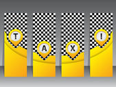 Yellow taxi labels with pointers — Vector de stock