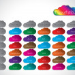 Timetable background design with color clouds — Stok Vektör