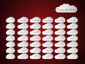 Takvim arka plan tasarımı ile bulut şekilleri — Stok Vektör