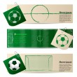 Label set of three with soccer elements — Stock Vector