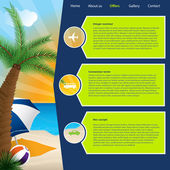 Tourism website template with summer offers — Stock Vector
